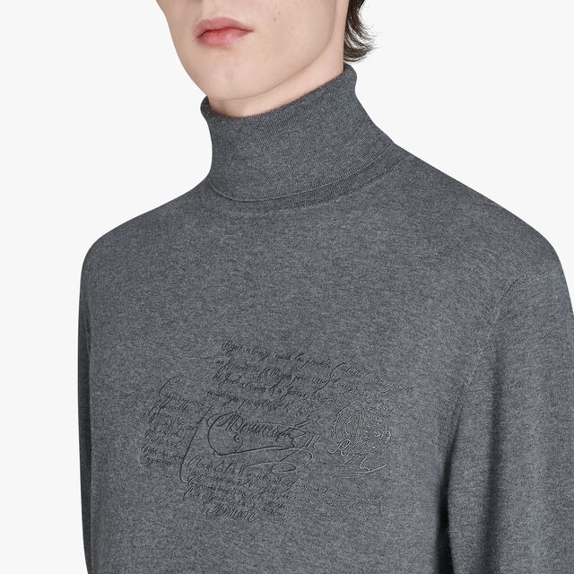 Regular Fit Scritto Embroidered Turtle Neck Wool Sweater, LEAD, hi-res