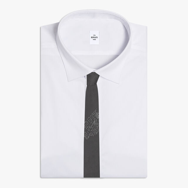 Small Striped Tie With Scritto, MYSTERIOUS GREY, hi-res