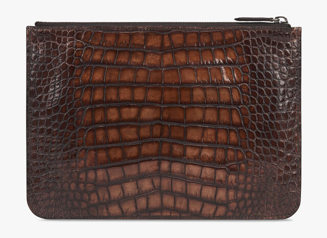Nino Small Alligator Leather Document Holder, MOGANO, hi-res