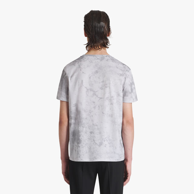 Marble Printed Short-Sleeve Cotton T-Shirt, ICE GREY, hi-res