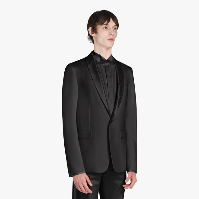 Alessandro Formal Wool Tuxedo Jacket With Scritto Shawl Collar, NOIR, hi-res