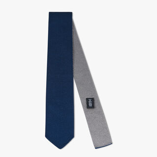 Two-Tone Silk Knit Tie, BLUE NAVY, hi-res