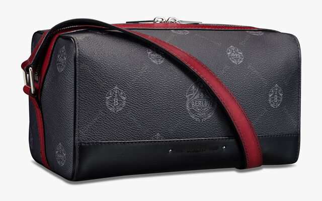 Aventure Gulliver Canvas And Leather Messenger, BLACK + SIMAL RED, hi-res