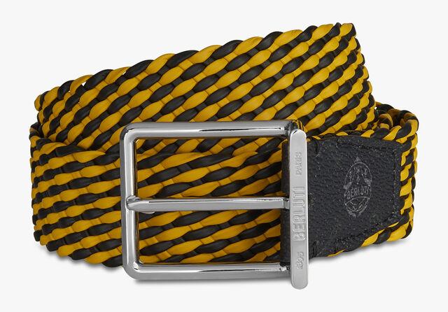 ステップ シグネチャー キャンバス&ブレイド カーフ 35MM ベルト, BLACK  + YELLOW, hi-res