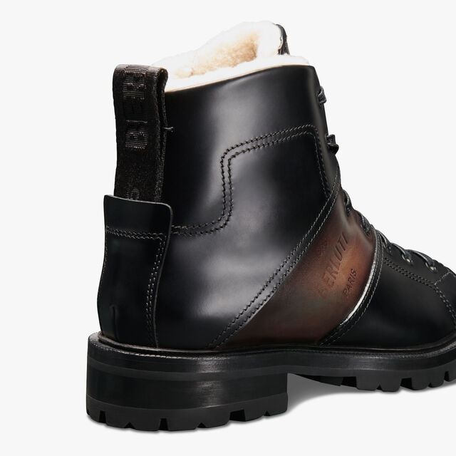 Brunico Glazed Leather Boot, NERO, hi-res