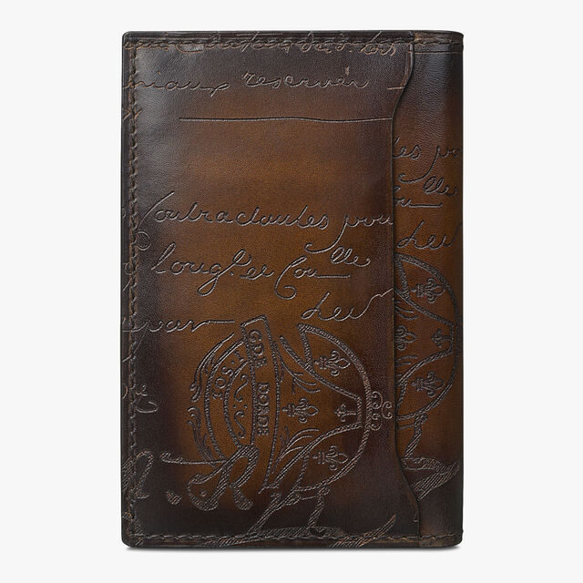 Jagua Scritto Leather Card Holder, TOBACCO BIS, hi-res
