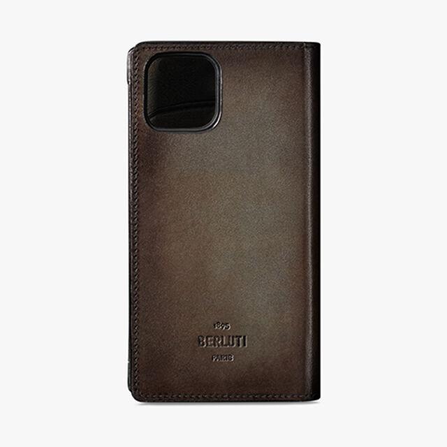 Iphone Folio Large Scritto Leather Case, ICE BROWN, hi-res