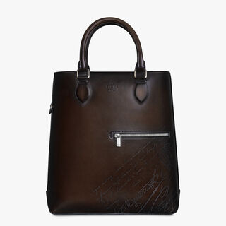 Toujours Vertical Scritto Leather Tote Bag