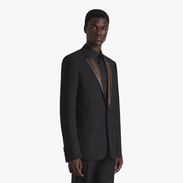 Evening Full Lined Jacket With Leather Lapel, NOIR, hi-res