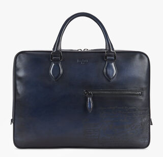 F007 Engraved Calf Leather Briefcase, BLU NOTTE, hi-res