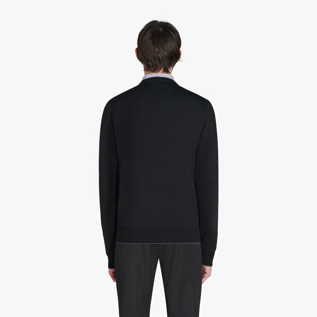 Regular Fit Long Sleeves Bicolor Wool And Cotton Sweater, NOIR, hi-res