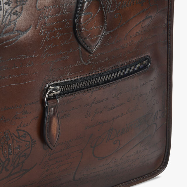 Un Jour Small Scritto Leather Briefcase, MOGANO, hi-res