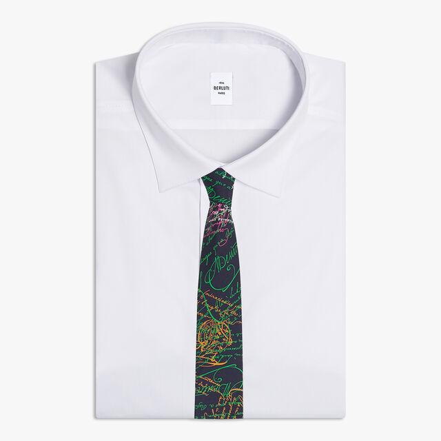 Printed Silk Tie, SCRITTO COSMIC BLUE, hi-res