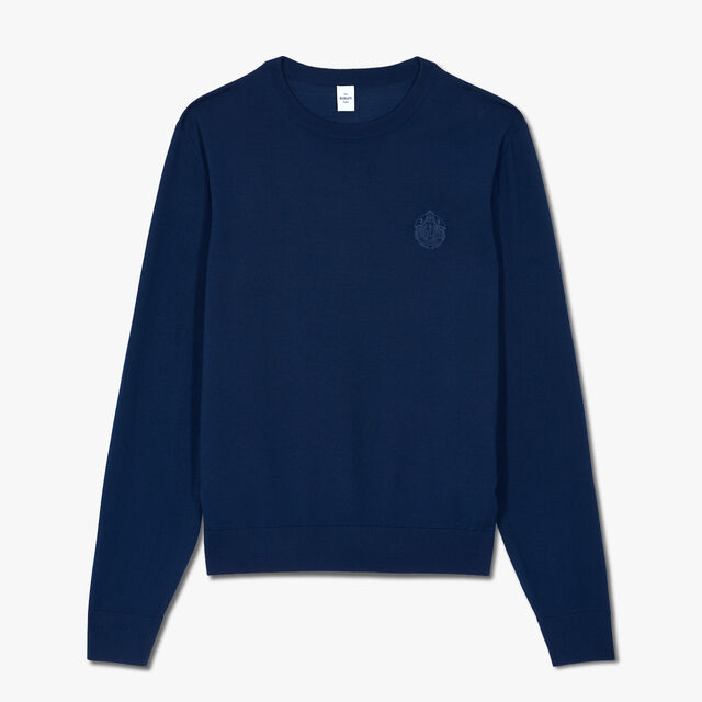 Embroidered Crest Sweater, SPACE BLUE, hi-res