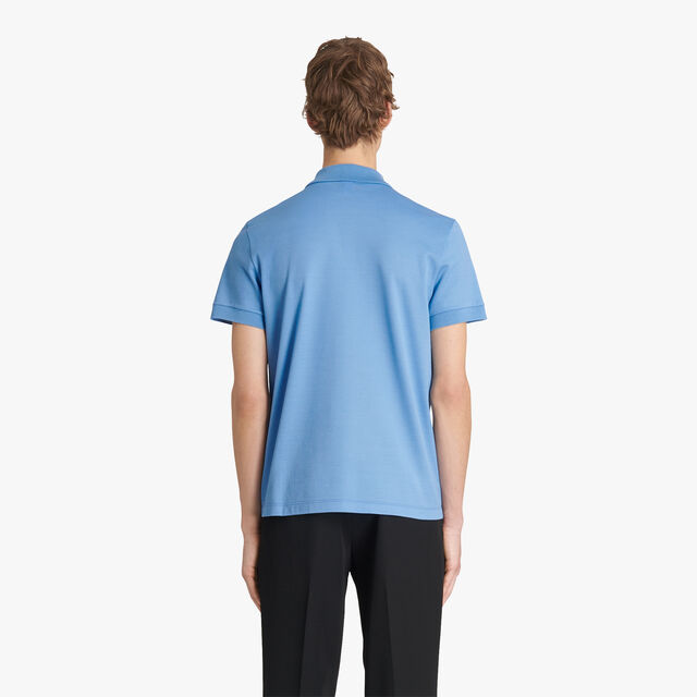 Polo Shirt With Leather Crest, SKY BLUE, hi-res