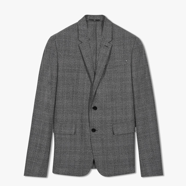 Unlined Prince Of Wales Jacket, FOSSIL GREY, hi-res