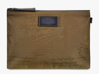 Esprit Medium Nylon Calf Leather Clutch, KAKI, hi-res