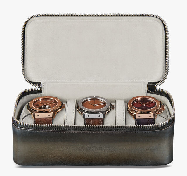 Three Watch Case Scritto Leather Watch Case, ICE BROWN, hi-res