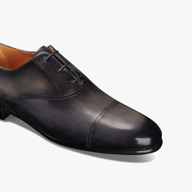 Cuir Brulé Galet Leather Oxford, NERO GRIGIO, hi-res