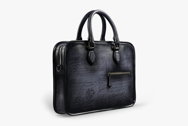 Un Jour Small Scritto Leather Briefcase, TOBACCO BIS, hi-res
