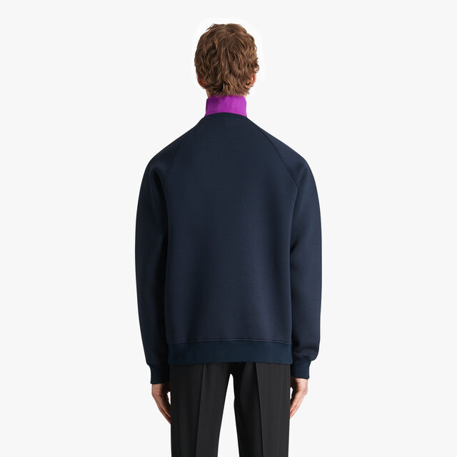 Sweatshirt With Bonded Leather Crest, ULTRAMARINE  / LEAD, hi-res