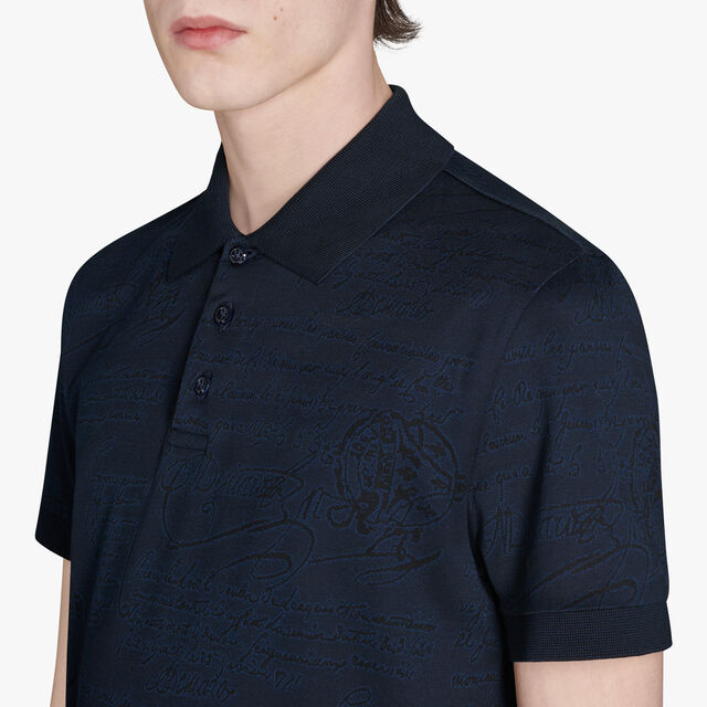 Regular Fit Short Sleeves Jacquard Scritto Polo Shirt, CAOS NIGHT, hi-res