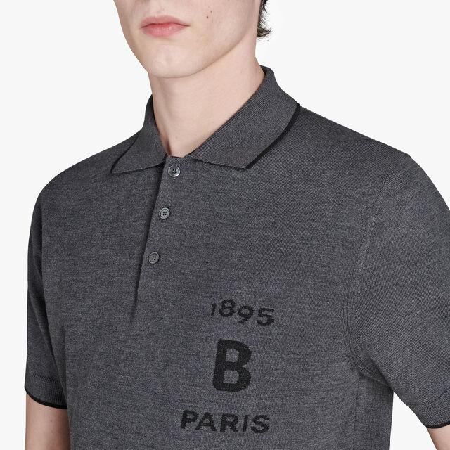 Regular Fit Short Sleeves Bicolor Wool Sweater, LEAD, hi-res