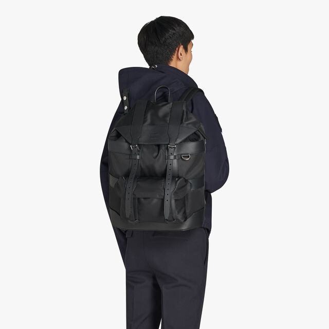 Fraction Medium Nylon Backpack, NERO, hi-res