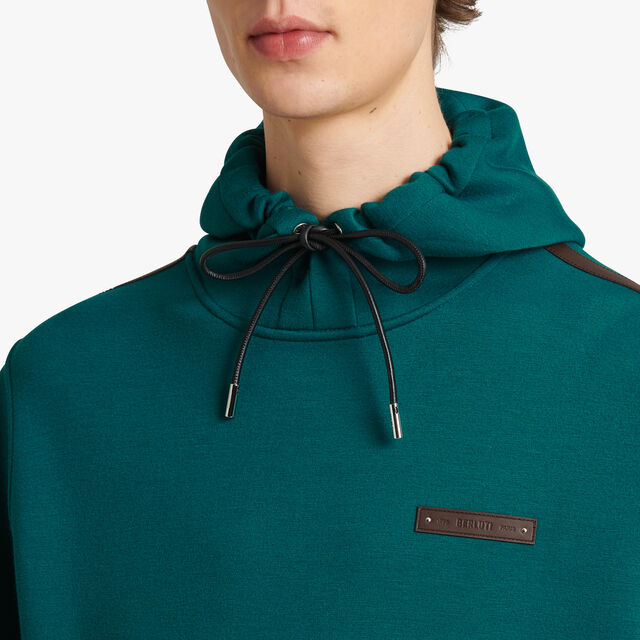 Hoodie With Leather Details, ALPINE GREEN / NOIR, hi-res
