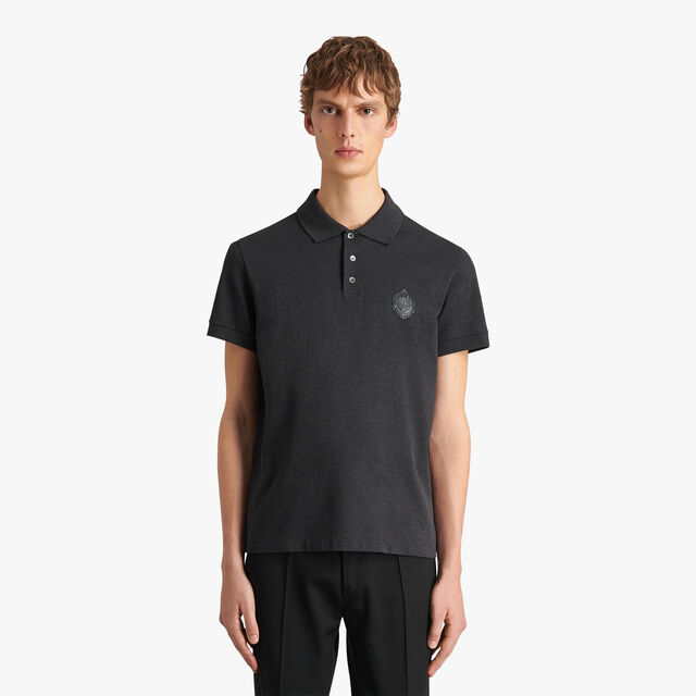 Polo Shirt With Leather Crest, MYSTERIOUS GREY, hi-res