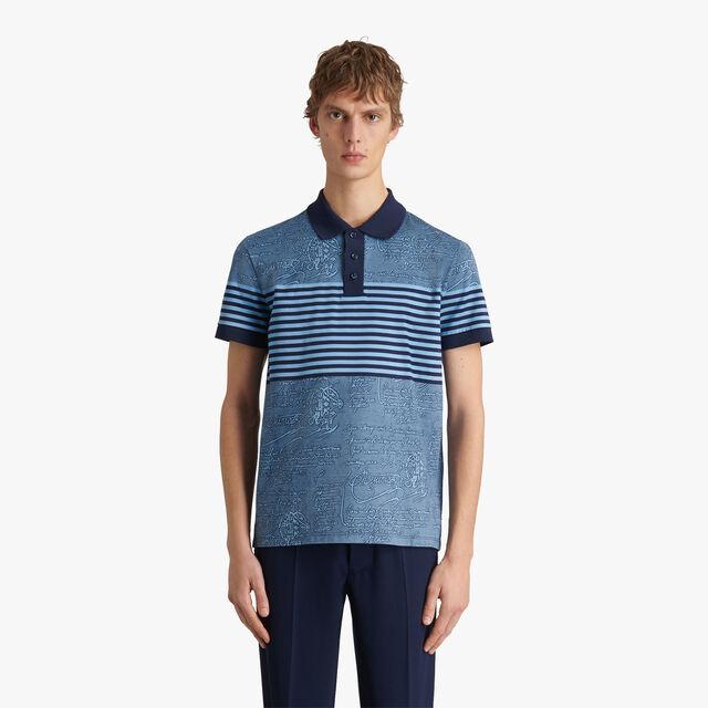 条纹Scritto图纹Polo衫, BLUE MAJORELLE, hi-res