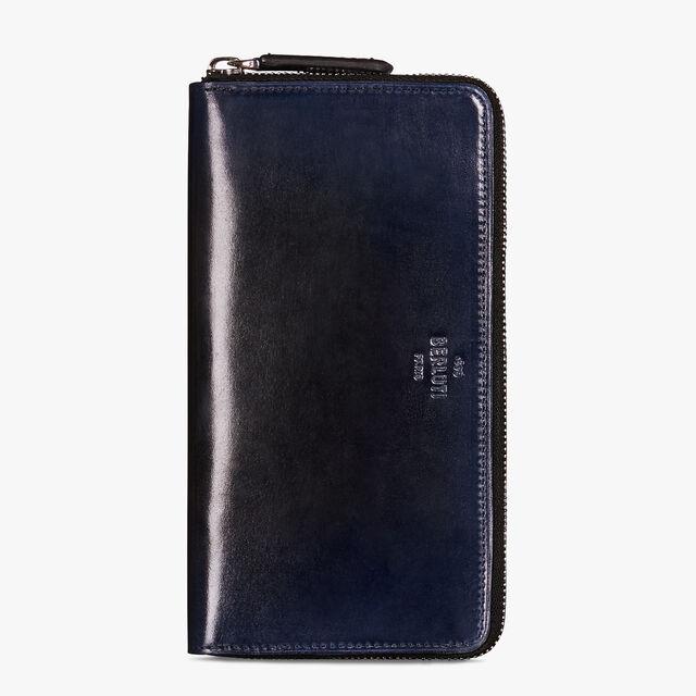 Itauba Epure Leather Long Zipped Wallet, BLACK BLUE, hi-res