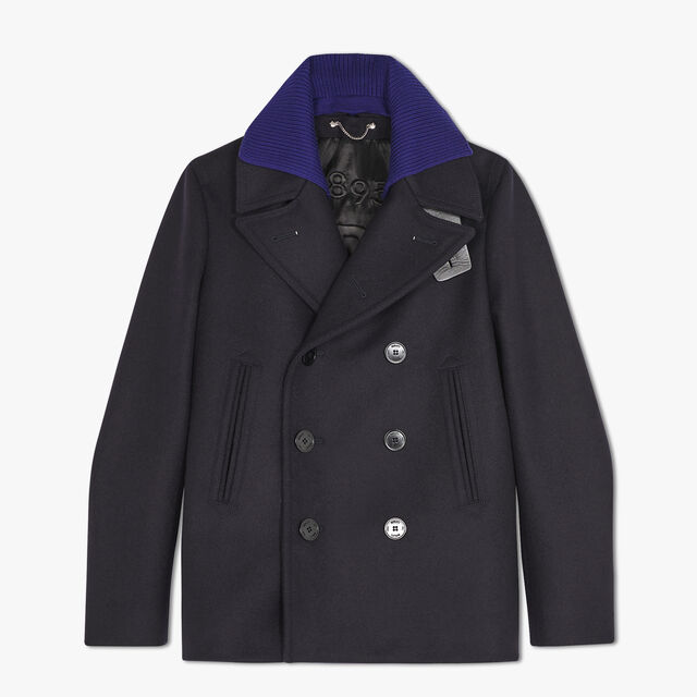 Wool Peacoat With Leather Details
