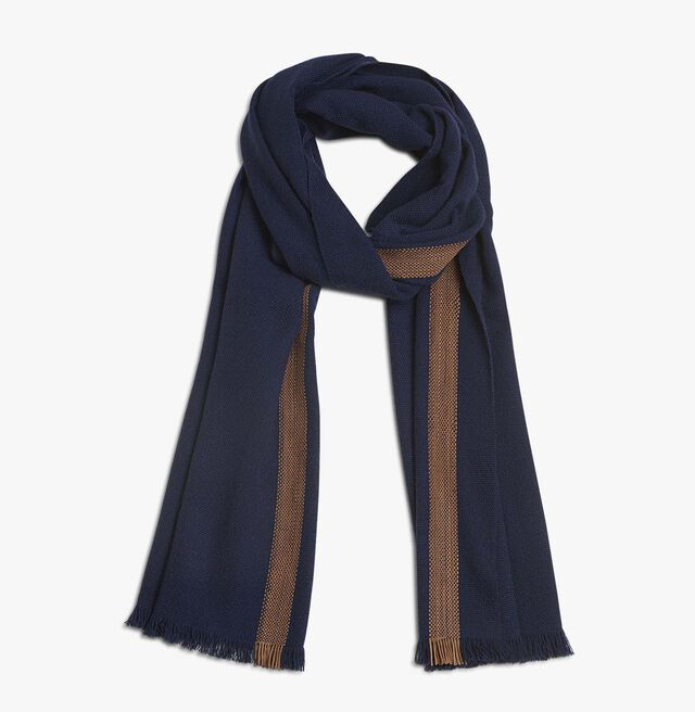 Cashmere & Leather Scarf, NAVY, hi-res