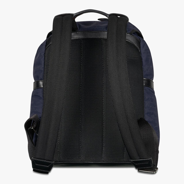 Hike On Small Nylon and Leather Scritto Backpack, BURNT BLUE, hi-res