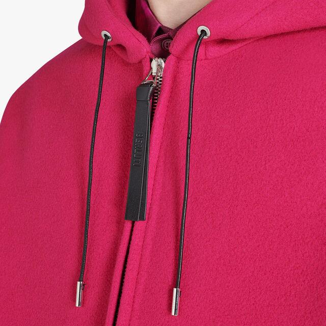 特大号的拉链羊毛连帽运动衫, BERRY PINK, hi-res