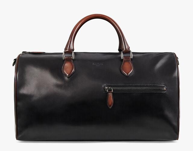 Jour Off Medium Leather Travel Bag, NERO GRIGIO, hi-res