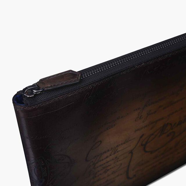 Nino Large Scritto Swipe Leather Clutch, TOBACCO BIS, hi-res