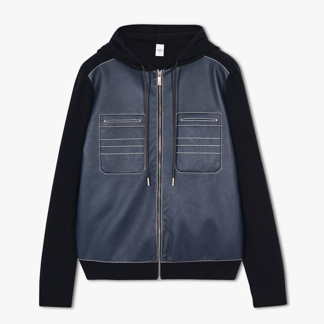 Zip-Up Hoodie With Front Leather Panel, OCEANIC WAVE, hi-res