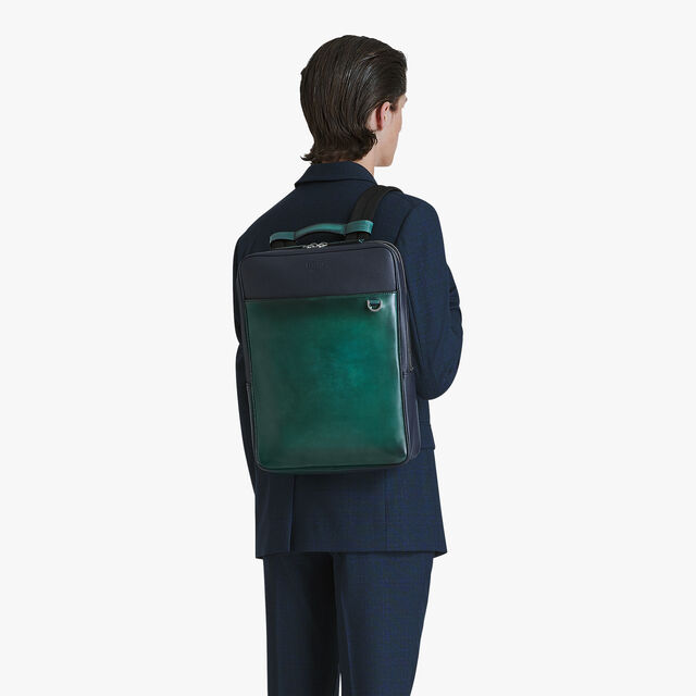 Contraste Medium Leather Backpack, PETROL GREEN, hi-res