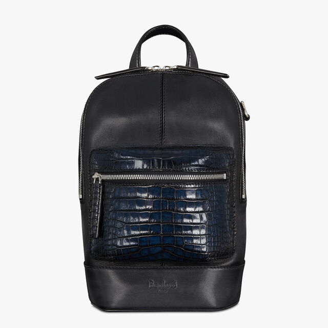 Volume Gulliver Small Calf and Alligator Leather Backpack, NERO BLU, hi-res