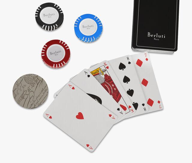 Jeu De Poker En Cuir, BRUN, hi-res