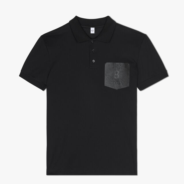 Regular Fit Cotton Polo Shirt With Leather Chest Pocket, NOIR, hi-res