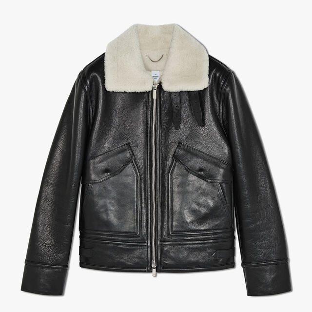 Leather Blouson With Shearling Collar