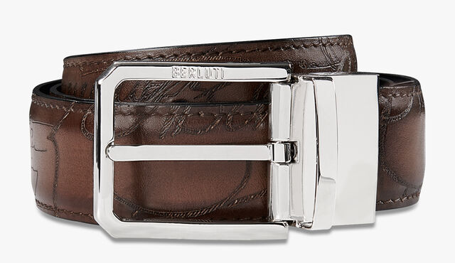 Versatile Scritto Embossed Leather 35 MM Belt , BRUN & METEORITE, hi-res