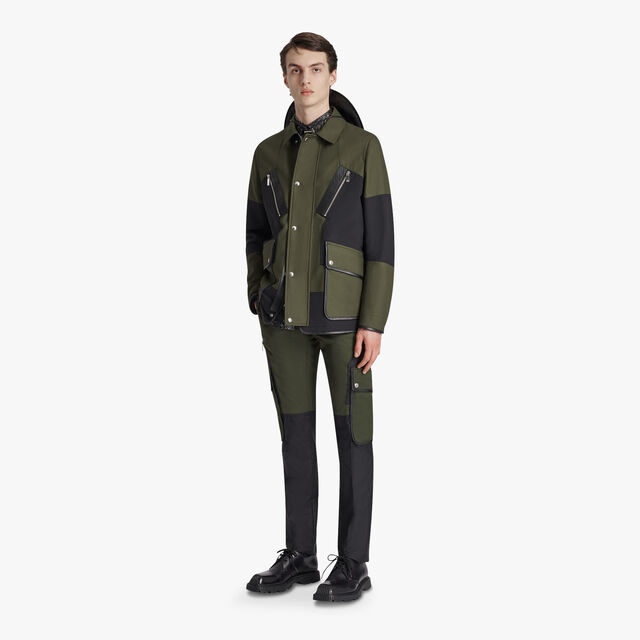 Colorblock Field Jacket, FOREST GREEN, hi-res