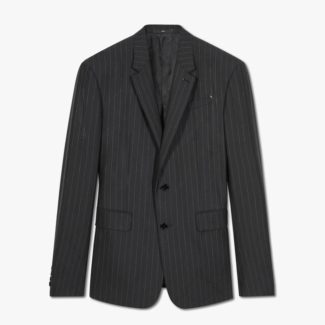 Pinstripe Jacket With Signature Jacquard, NOIR, hi-res