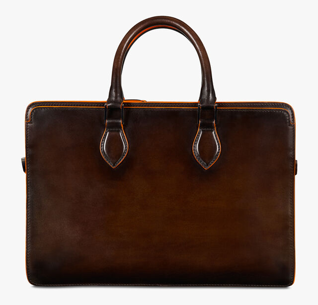 Un Jour Mini Leather Briefcase, TDM INTENSO + ORANGE, hi-res