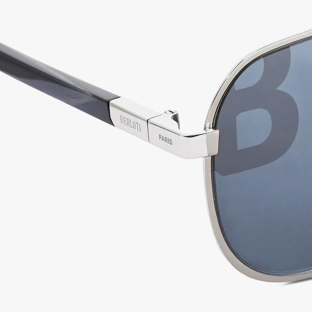 Bright Metal And Acetate Sunglasses, PALLADIUM, hi-res