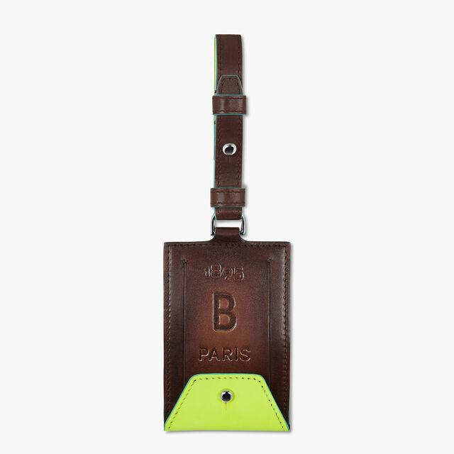 Leather Bag Tag, BRUN+YELLOW, hi-res